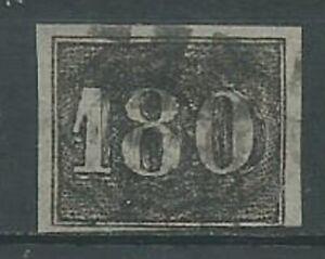 Brazil 1850 180r black imperf SG22 fine used. 4 margins. (2091)