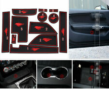 fits Ford Mustang GT 2015-2019 Red Rubber Non-Slip Gate Slot Mats/Cup Holder Pad