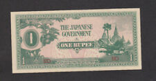 1 Rupee Aunc Banknote From Japanese Occupied Burma 1942 Pick-14