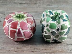 Mosaic Apple Tomato Decorative Fruit Ceramic Lot 2 Pottery Decor Garden