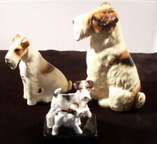 VINTAGE Ceramic Wire fox Terrier Figurines LOT OF 3 - Excellent Condition