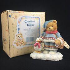 New Vtg Enesco Cherished Teddies Figurine Ingrid & Goose 617237 Christmas 1994