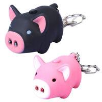 Cute Pig Keyring Keychain LED Light Touching with Sound Car Bag Pendant Cha Q5N1