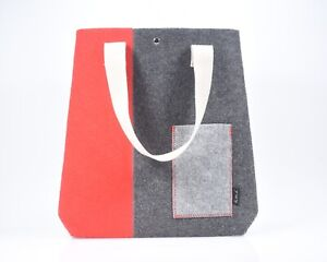 Charcoal Grey  and Red Felt Tote Bag, Quality craftsmanship