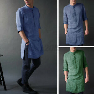 Men's Indian Clothing Long Sleeve Kurta Collarless Shirt Formal Short Kaftan Top