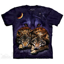 NEW WOLF SKY The Mountain T Shirt Howl Wolves Moon Purple Adult Sizes
