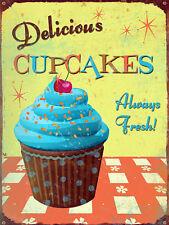 Delicious Cupcakes, Retro metal Sign vintage, Kitchen, Cafe, Gift