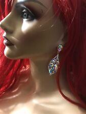 "2.75"" Long Gold Ab Aurora Borealis Bridal Rhinestone Clear Prom Crystal Earrings"
