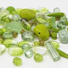 Perlen Mix Glasperlen Mischung olivgrün 5-16mm 70St. Glas Beads Perlenmix