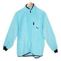 Puma Womens Teal Zip Up Fluffy Jumper Size 12