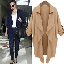 Women Winter Waterfall Cardigan Jacket Casual Slim Trench Coat Overcoat Outwear