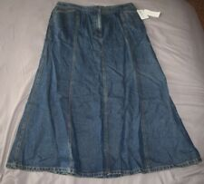NWT Women's Charter Club Long Modest Blue Jean Skirt Sz Size 14 Denim