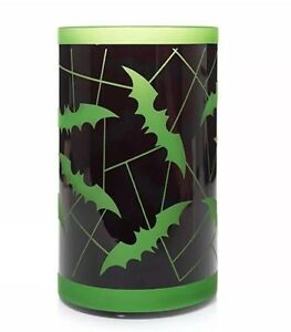 YANKEE CANDLE BATTY BATS GREEN JAR CANDLE HOLDER HALLOWEEN RETIRED ITEM HTF