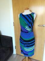 Ladies PER UNA Dress Size 10 Blue Green Wiggle Pencil Smart Day Office