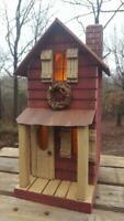 Primitive Farmhouse, Primitive Birdhouse, Lighted Farmhouse, Farmhouse Decor