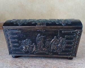 Signed Vintage Antique Bronze Casket Box Sculpted By Edward Aargaard Danmark
