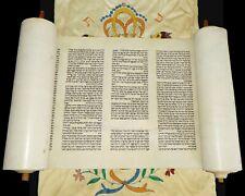 BEAUTIFUL COMPLETE TORAH BIBLE SCROLL HANDWRITTEN ON PARCHMENT JUDAICA