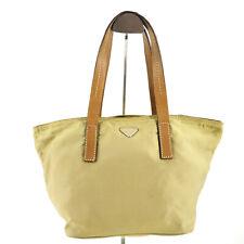 Authentic Prada Tessuto Vintage Nylon & Leather Tote / Top Handle Bag in Beige