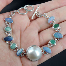 STUNNING EMERALD, OPAL & PEARL 925 Sterling Silver Bracelet Jewellery, QUALITY