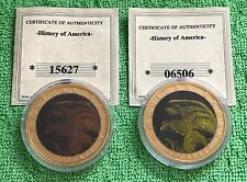 (2) TWO $10 DOLLAR PROOF AMERICAN MINT HOLOGRAPHIC BALD GOLD EAGLE COIN 2001