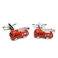 Red Fire Engine Fireman Cufflinks & Gift Pouch