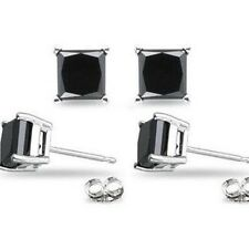 Pair New Hot Fashion Women Lady Elegant Black Stone Onyx 8mm Ear Stud Earrings