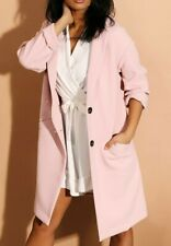Topshop Oversized Pink Crepe Long Coat Duster Twin Button Jacket Size UK 6-16