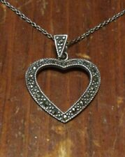 Sterling Silver Art Deco Cutout Marcasite Encrusted Heart Pendant Necklace