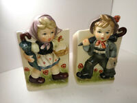 VTG Little Boy & Girl  Hummel-Like Vase Planters  Napcoware Japan