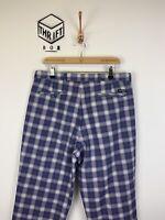 STROMBERG, Mens W36 L30, Purple Check, Regular Fit, Golf Trousers,*EX COND*