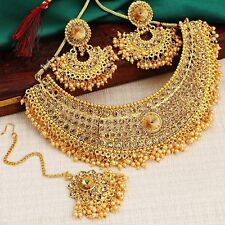 Indian Jewelry Bollywood Wedding Gold Plated Necklace Set Earrings Tikka 4 Pcs