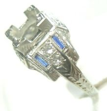 Antique Art Deco Vintage Setting Mounting 18K White Gold Hold 6-6.5MM Ring Sz 6