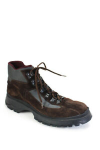Prada Womens Lace Up Fashion Work Boots Brown Size 40