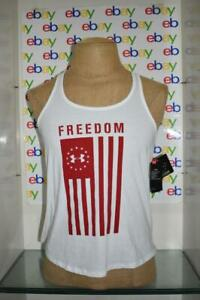 Under Armour Women's Freedom Flag Collage Tank Top 1357655 100 White/Red NWT