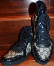 RARE! Gucci Italy Navy Blue GG Canvas Plus Crocodile Trim Hi-Top Sneakers 9G