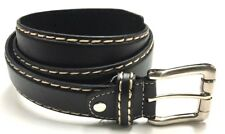 Mens Leather Black Tan Belt With Metal Buckle Casual Dress Women Kids S,M,L,XL