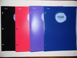 Lot of 4 Multi-Colors Plastic Mead 3 Hole Punched 2 Pocket Portfolio Folders