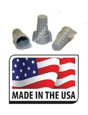 (50) Gray Grey Wire Connector Winged Twist 18-8 Awg 105C Screw Nut Made in Usa