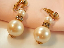 Very Showy Vintage Faux Pearl Rhinestone Dangle Earrings  640C