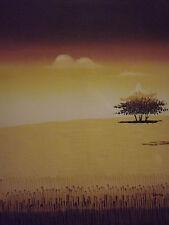 Minimo Marrone campagna albero grande dipinto a Olio su Tela Arte Moderna Paesaggio