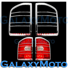 07-13 GMC Sierra Chrome Taillight Tail Light Trim+Brake Red LED Bezel Cover