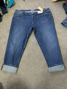 M&s Med Blue Mid Rise Relaxed SLim Ankle Grazer Jeans 24 R Bnwt Free Sameday P&p