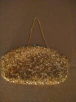 Vintage Beaded Gold Evening Bag Clutch Purse Hand made in Hong Kong