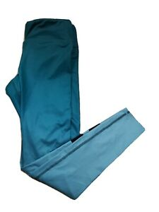 Alo Yoga Airbrush Green Ombre Full Length Legging With Black Stripe Medium