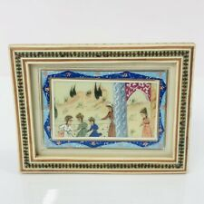 """Persian Miniature Painting Camel Bone Inlaid Marquetry Frame Vintage 4"""" x 5"""""""