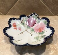 Vintage Porcelain Trinket Coin Dish Tray Floral with Blue and Gold Trim Japan