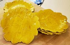 Set of Golden-Yellow Dessert/Salad Plates in the Shape of Leaves