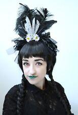 Black Halloween Crown Shredded Fascinator Feather Headband Headdress