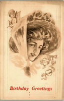 Birthday Greetings • Young lady cherub hearts 1911 Vintage Postcard AA-004