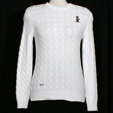 NEW RALPH LAUREN White Cable Embroidered Sweater Bear Skiing 100% Cotton XL